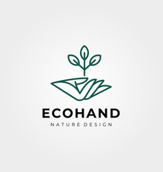 Hand and tree logo symbol line art design vector