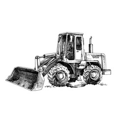 hand drawn bulldozer vector image
