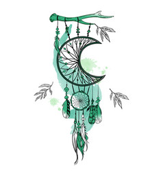 hand drawn dream catcher and vector image