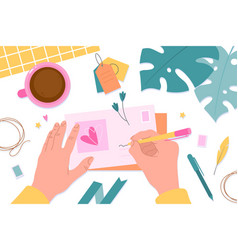 hands with postcards message preparing vector image