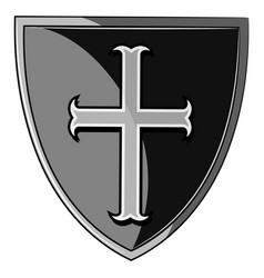 Heraldic shield of the crusader vector