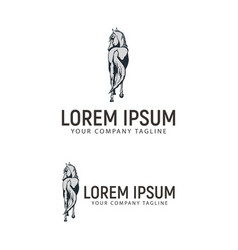 Horse logo back side design concept template vector