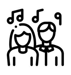 human silhouettes singing song in karaoke vector image