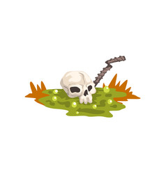 Human skull in a swamp toxic waste ecological vector