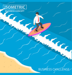 isometric businessman surfing on the wave vector image