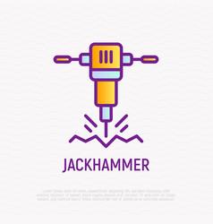 jackhammer thin line icon vector image