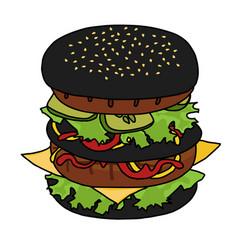 Japanese black burger vector