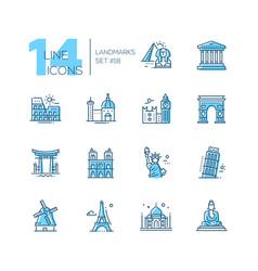 landmarks - coloured modern single line icons set vector image