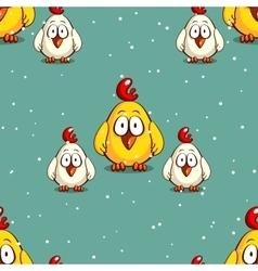 Little Chicken On Snowy Background vector image