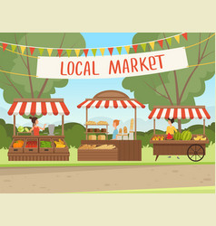 Local market people shopping healthy fresh food vector