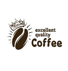 Logo crown on coffee bean on vector