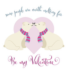 lovely valentines day card with polar bears couple vector image