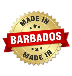 made in Barbados gold badge with red ribbon vector image