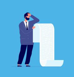 Man holding long list businessman debt scroll vector