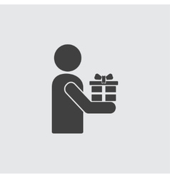 Man with gift icon vector image
