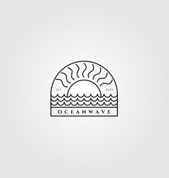 minimalist ocean wave and sun line art logo label vector image