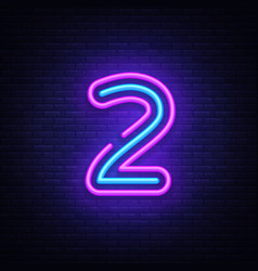 Number two symbol neon sign number two vector