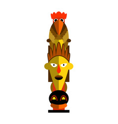 Pagan totem pole with shaman face and rooster on vector