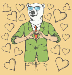 Polar bear valentine day concept vector