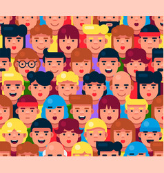 pwople faces seamless pattern cute cartoon flat vector image