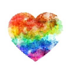Rainbow six color watercolor heart vector