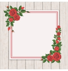 red rose on white vintage wooden background vector image
