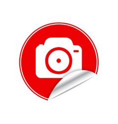 Red sticker camera vector