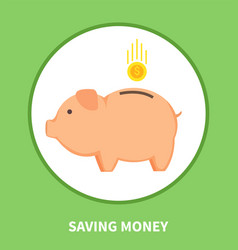 saving money promotional emblem with pig moneybox vector image