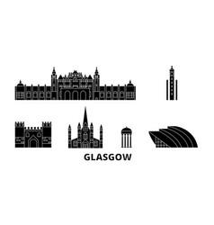 Scotland glasgow city flat travel skyline set vector