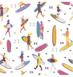 Seamless pattern with surfers and syrf boards vector