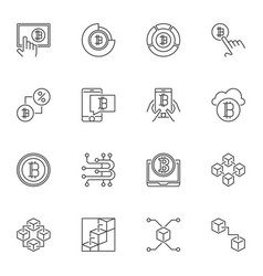 set blockchain outline icons on white vector image