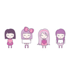 Set collections cute girls holding hearts vector