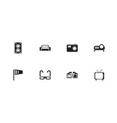 set of 8 editable cinema icons includes symbols vector image