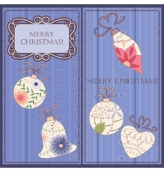 Set of christmas and new year cards with toys vector image vector image