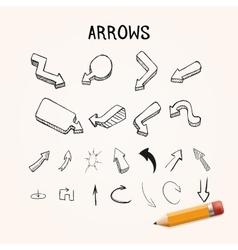 set of hand-drawn arrows vector image
