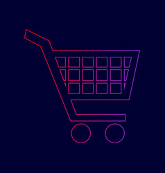 shopping cart sign line icon with vector image