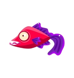 Silly Red Fantastic Aquarium Tropical Fish With vector