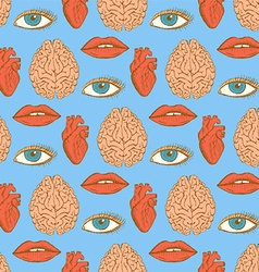 Sketch brain heart lips eye in vintage style vector image