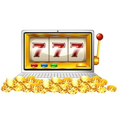 Slot machine and coins on computer screen vector