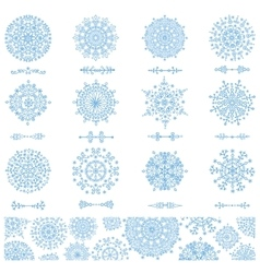 Snowflakes shapesdivider borders pattern vector image