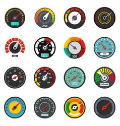 Speedometer level indicator icons set flat style vector