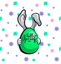 spring rabbit with egg vector image