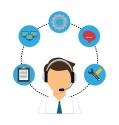 Technical service and call center icon vector