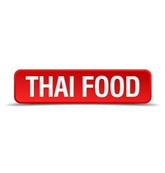 Thai food red 3d square button isolated on white vector