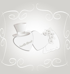 Wedding heart vintage vector