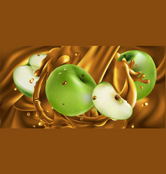 Whole and sliced green apples in fruit juice vector