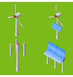 Wind solar generators vector