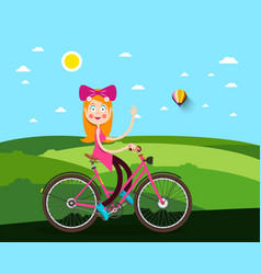 Woman on bicycle with meadow on background vector