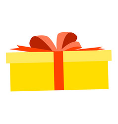 yellow gift box icon flat style vector image