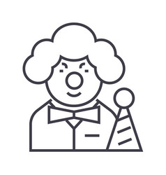 clown line icon sign on vector image